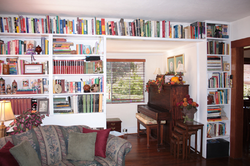 A library wall in a Craftsman Home on the Martinez Home Tour