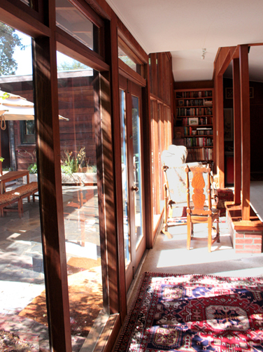 A Frank Lloyd Wright Inspired Ranch House living room in Martinez, CA