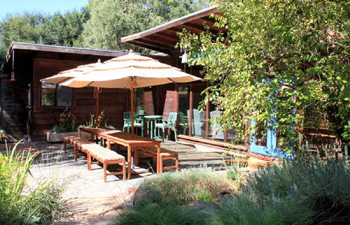 The patio of a Frank Lloyd Wright Inspired Ranch House on the Martinez Home Tour