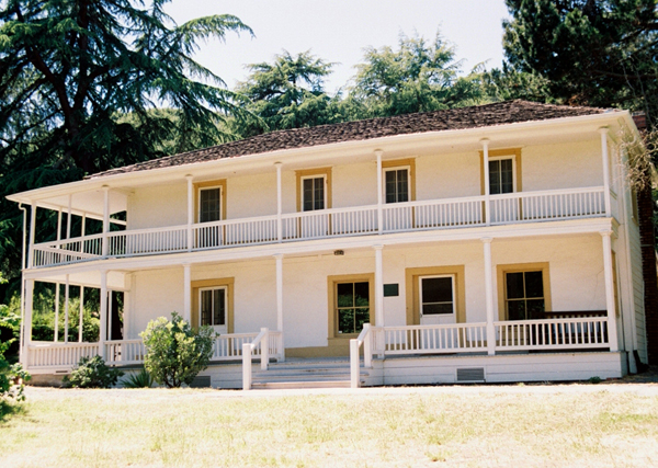 An 1849 adbobe home in Martinez, California built in the Monterey Colonial style
