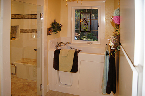 A univeral design bathroom in a Craftsman home which was on the 2014 Martinez Historic Home Tour.