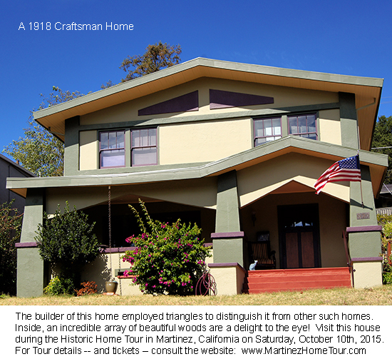 This is a Craftsman home employing triangles in its exterior design.