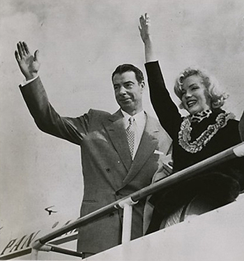 Joe DiMaggio and Marilyn Monroe leaving for Japan after beginning their honeymoon in San Francisco and Martinez, CA.